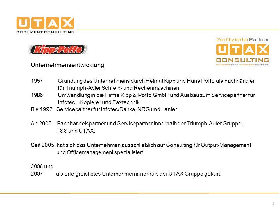 8 Unternehmensentwicklung 1957 Gründung des Unternehmens durch Helmut Kipp und Hans Poffo als Fachhändler für Triumph-Adler Schreib- und Rechenmaschinen.