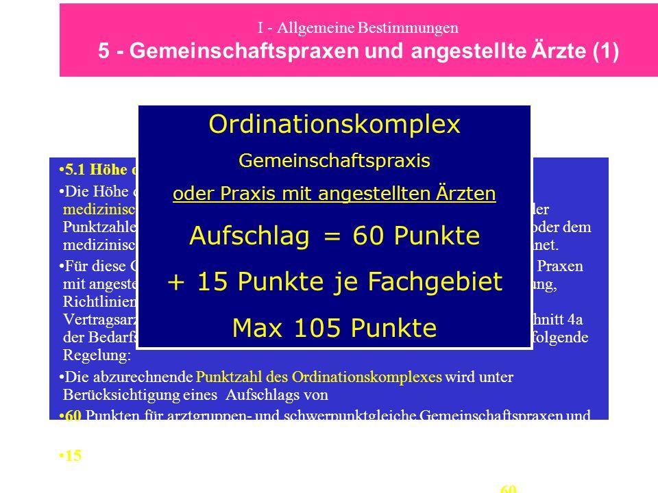 I - Allgemeine Bestimmungen 5 - Gemeinschaftspraxen und angestellte Ärzte (1) 5.1 Höhe des Ordinationskomplexes Die Höhe des Ordinationskomplexes von