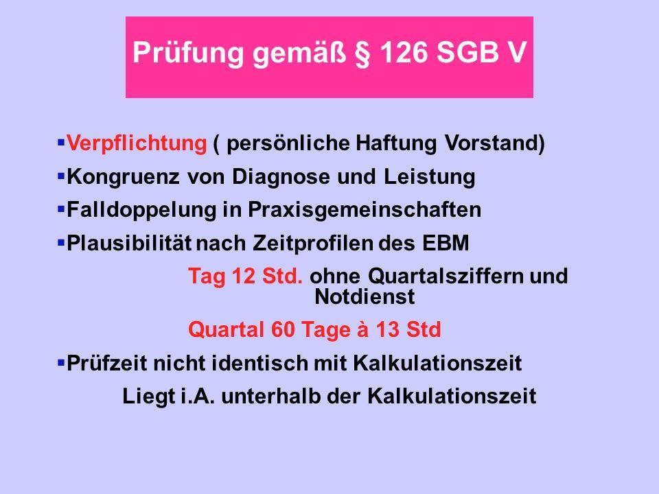 Prüfung gemäß § 126 SGB V Verpflichtung ( persönliche Haftung Vorstand) Kongruenz von Diagnose und Leistung Falldoppelung in Praxisgemeinschaften Plau