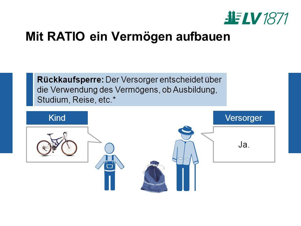 Mit RATIO ein Vermögen aufbauen Rückkaufsperre: Der Versorger entscheidet über die Verwendung des Vermögens, ob Ausbildung, Studium, Reise, etc.* Kind Ja.