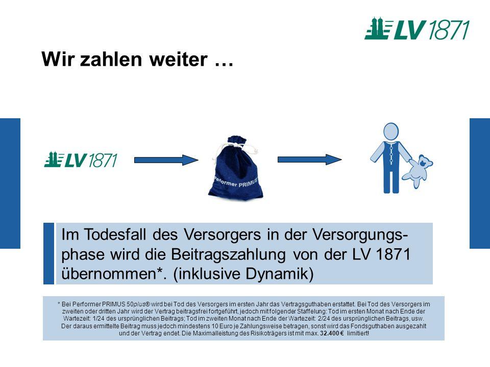 Wir zahlen weiter … Im Todesfall des Versorgers in der Versorgungs- phase wird die Beitragszahlung von der LV 1871 übernommen*.