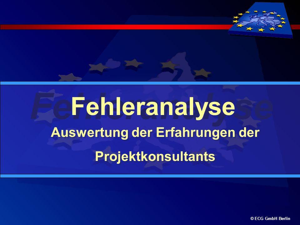 © ECG GmbH Berlin Fehleranalyse Auswertung der Erfahrungen der Projektkonsultants Auswertung der Erfahrungen der Projektkonsultants