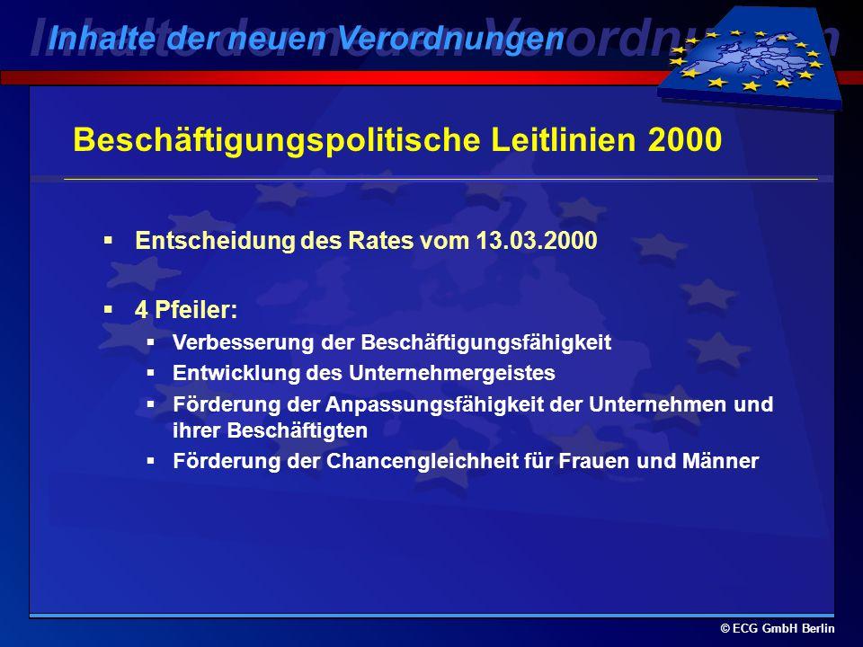 © ECG GmbH Berlin Wieviel Geld erhält Berlin aus dem ESF? Ziel 1-Übergang319Mio DM Ziel 2249Mio DM Ziel 3279Mio DM Gesamt847Mio DM Inhalte der neuen V