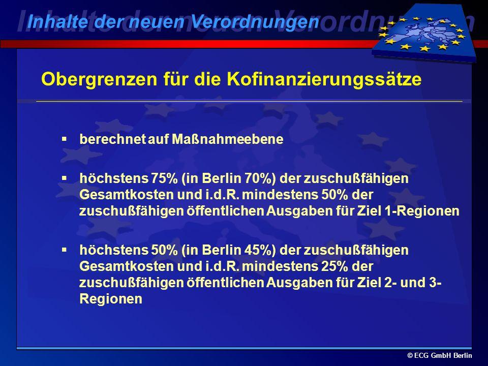 © ECG GmbH Berlin Politikbereiche, um die 4 Pfeiler zu stützen AAktive Arbeitsmarktpolitiken zur Förderung der Beschäftigung BEine Gesellschaft ohne Ausgrenzung CFörderung der Beschäftigungsfähigkeit, Qualifikationen und Mobilität durch lebenslanges Lernen DFörderung der Anpassungsfähigkeit und des Unternehmergeistes EFrauenfreundliche Maßnahmen FLokales Kapital für soziale Zwecke Inhalte der neuen Verordnungen