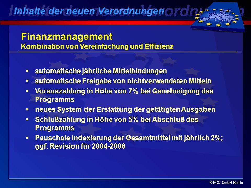 © ECG GmbH Berlin Obergrenzen für die Kofinanzierungssätze berechnet auf Maßnahmeebene höchstens 75% (in Berlin 70%) der zuschußfähigen Gesamtkosten und i.d.R.