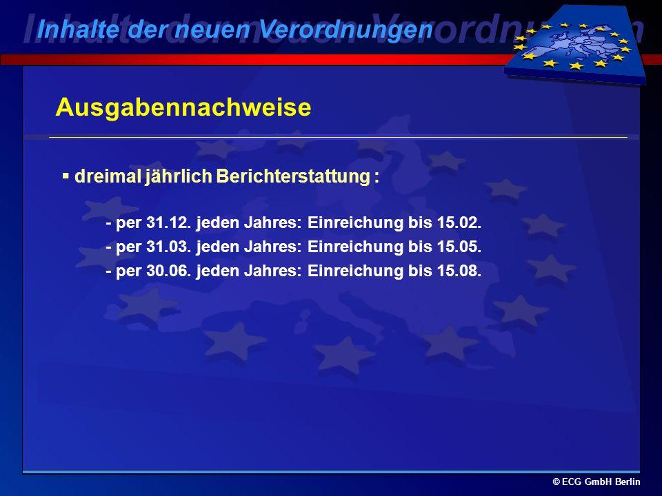 © ECG GmbH Berlin Scoring-Verfahren 1. Förderung der lokalen Entwicklung 2. Förderung der sozialen und arbeitsmarktspezifischen Dimension der Informat