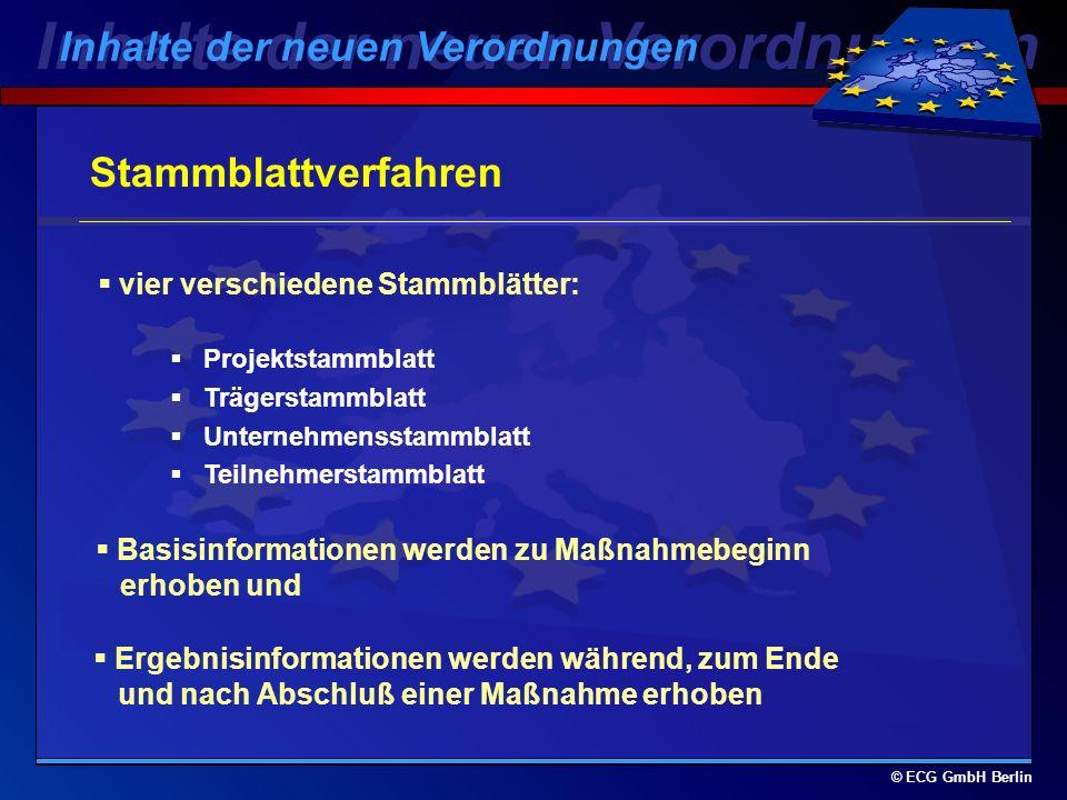 © ECG GmbH Berlin Stammblattverfahren dient der wissenschaftlichen Begleitung und Bewertung der ESF-Interventionen : Rechtsgrundlage: VO 1260/1999, Kapitel III, speziell Art.