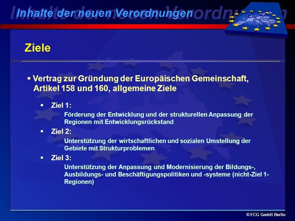 © ECG GmbH Berlin Rechtsgrundlage ESF VO 1260/1999 v. 21.06.1999 mit allgemeinen Bestimmungen über die Strukturfonds Amtsblatt der Europäischen Gemein