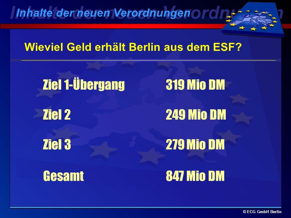 © ECG GmbH Berlin Aufteilung der Strukturfondsmittel (195 Mrd. Euro für 2000-2006) 69,7% für Ziel 1 (mit phasing-out 4,3%) = 135,9 Mrd.Euro 11,5% für