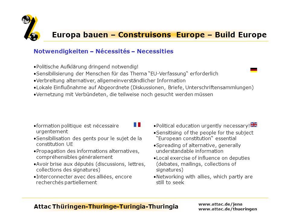 Attac Thüringen-Thuringe-Turingia-Thuringia Europa bauen – Construisons Europe – Build Europe www.attac.de/jena www.attac.de/thueringen Political education urgently necessary.
