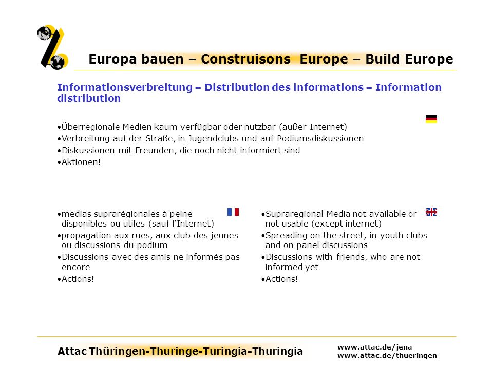 Attac Thüringen-Thuringe-Turingia-Thuringia Europa bauen – Construisons Europe – Build Europe www.attac.de/jena www.attac.de/thueringen Preparation in small peaces (keywords) better than long text Every days topics as introduction necessary to get in contact with people (energy costs, health system, unemployment, …) Depiction of the discrepancies to the national constitution Verbalisation of an alternative draft (all categories): Alternative political, social, ecological and military aims Préparation en pièces petites (noter le points-clés), cest mieux des textes longues Sujets quotidiens pour accéder des gents (coûts dénergie, système de la santé, chômage) Exposé des différences entre des constitutions nationales Verbaliser dune conception alternative (toutes les catégories): des buts alternatifs politiques, socials, écologiques et militaires Inhalte – Contenu – Content Aufbereitung in kleinen Stücken (Stichpunkte) ist besser als lange Texte Alltagsthemen als Einstieg erforderlich, um die Leute anzusprechen (Energiepreise, Gesundheitswesen, Arbeitslosigkeit, …) Unterschiede zur nationalen Verfassung darstellen Gegenentwurf in Stichpunkten formulieren (alle Kategorien): Alternative politische, soziale, ökologische und militärische Ziele