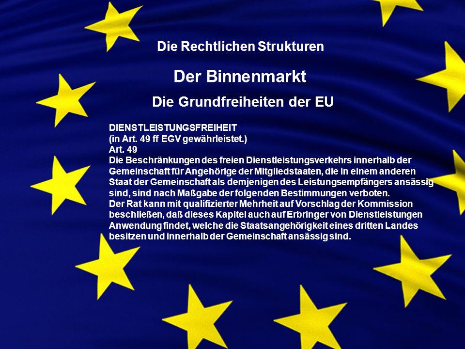 Die Rechtlichen Strukturen Der Binnenmarkt Die Grundfreiheiten der EU DIENSTLEISTUNGSFREIHEIT (in Art.