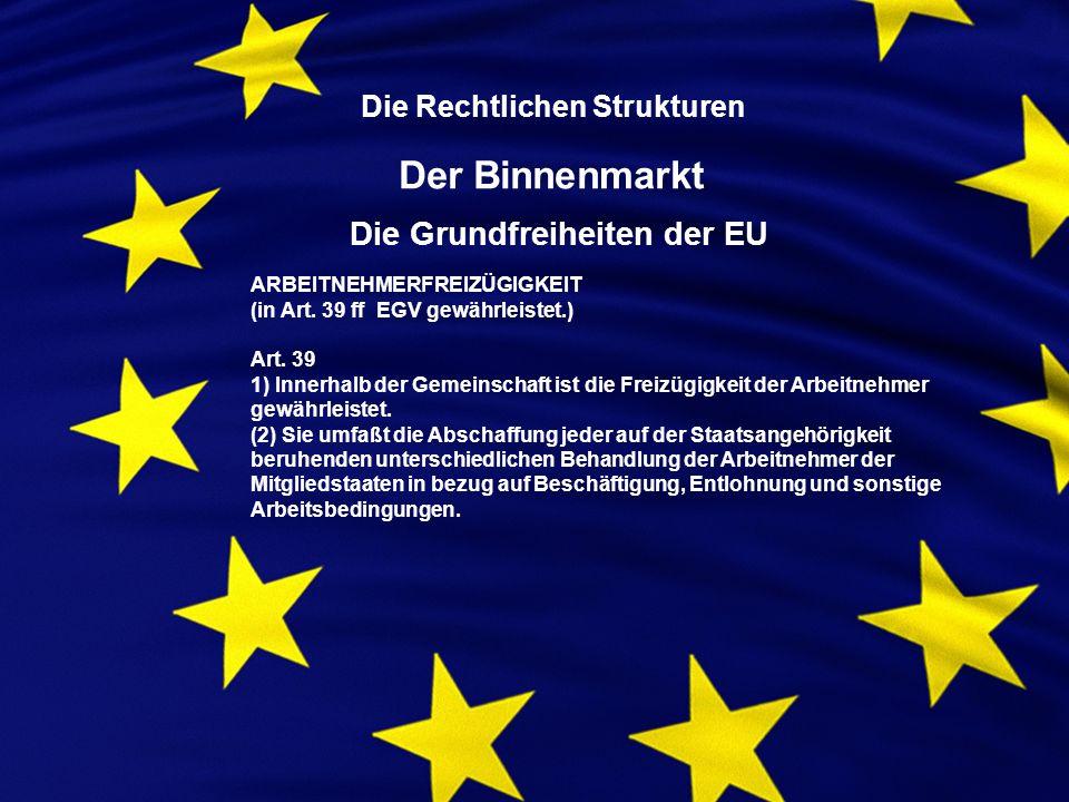 Die Rechtlichen Strukturen Der Binnenmarkt Die Grundfreiheiten der EU ARBEITNEHMERFREIZÜGIGKEIT (in Art.