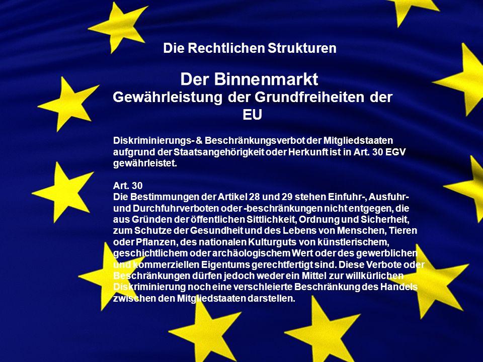 Die Rechtlichen Strukturen Der Binnenmarkt Gewährleistung der Grundfreiheiten der EU Diskriminierungs- & Beschränkungsverbot der Mitgliedstaaten aufgrund der Staatsangehörigkeit oder Herkunft ist in Art.