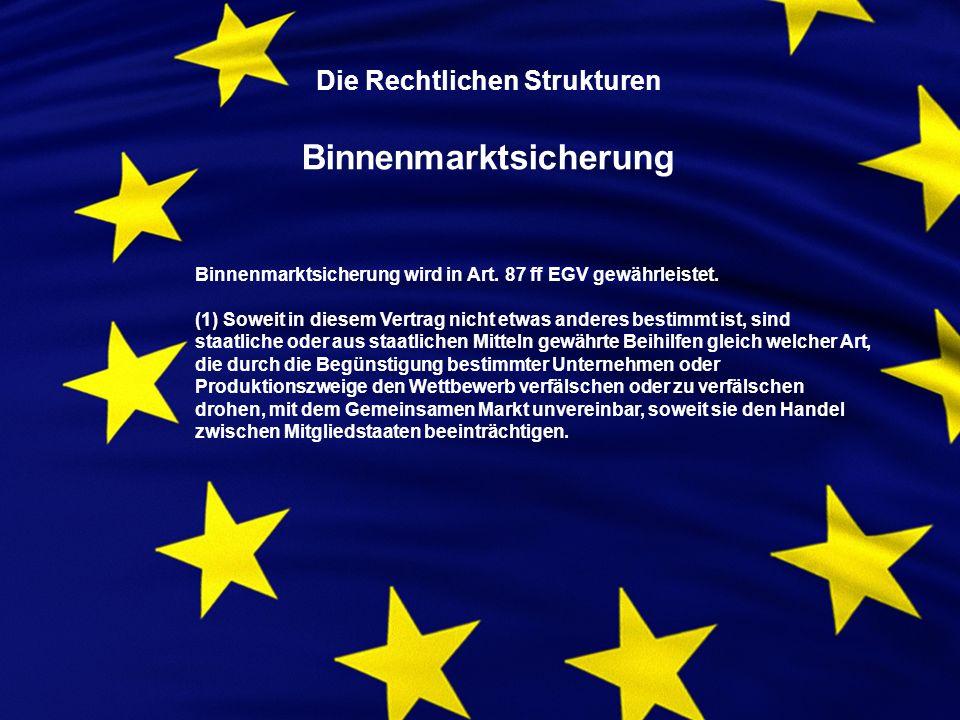 Die Rechtlichen Strukturen Binnenmarktsicherung Binnenmarktsicherung wird in Art.