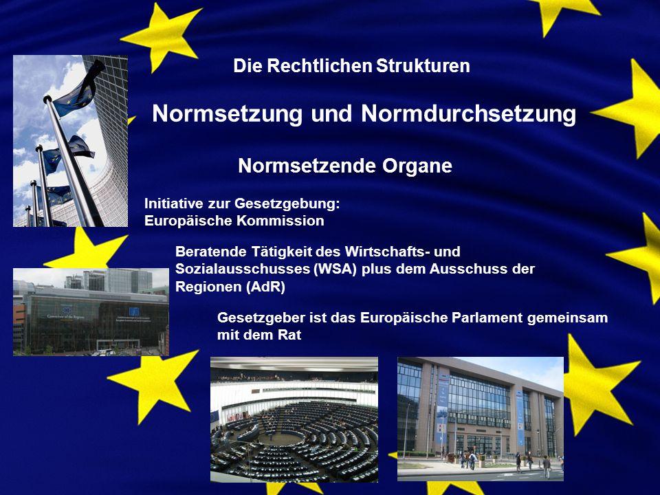 Die Rechtlichen Strukturen Normsetzung und Normdurchsetzung Normsetzende Organe Initiative zur Gesetzgebung: Europäische Kommission Beratende Tätigkeit des Wirtschafts- und Sozialausschusses (WSA) plus dem Ausschuss der Regionen (AdR) Gesetzgeber ist das Europäische Parlament gemeinsam mit dem Rat