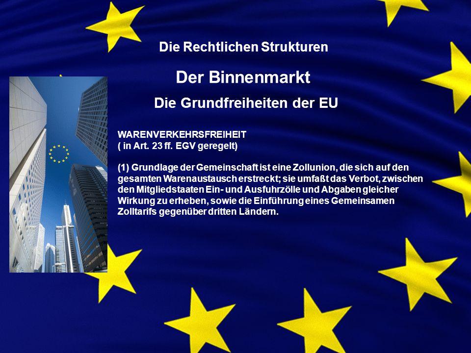 Die Rechtlichen Strukturen Der Binnenmarkt Die Grundfreiheiten der EU WARENVERKEHRSFREIHEIT ( in Art.