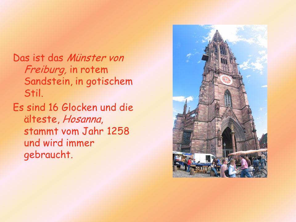 Das ist das Münster von Freiburg, in rotem Sandstein, in gotischem Stil. Es sind 16 Glocken und die älteste, Hosanna, stammt vom Jahr 1258 und wird im