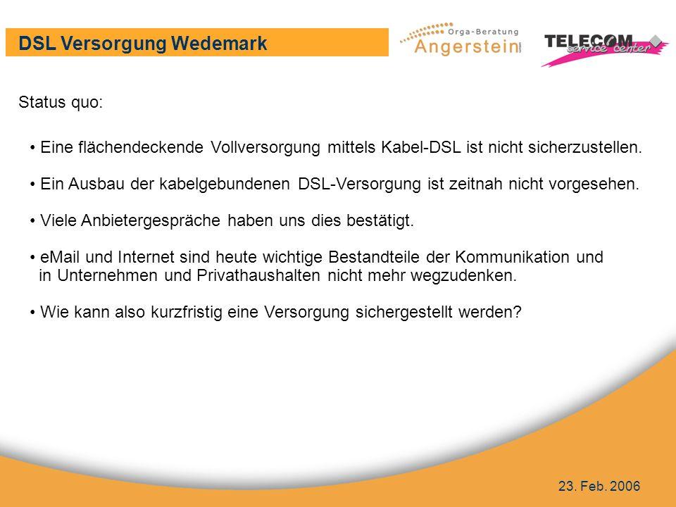 DSL Versorgung Wedemark 23.Feb.