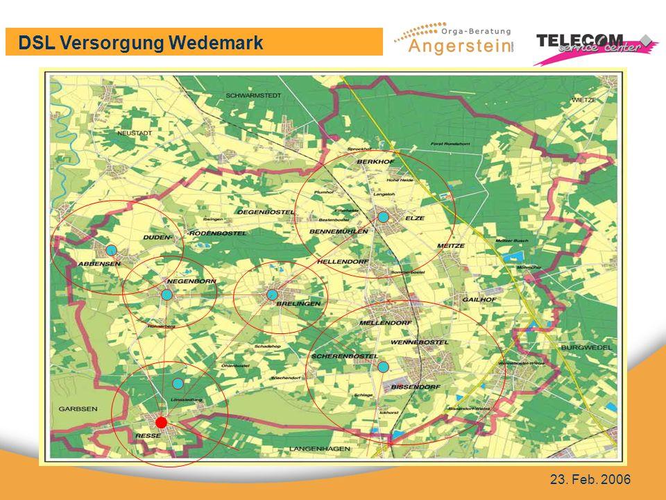 DSL Versorgung Wedemark 23. Feb. 2006 Flächenkarte