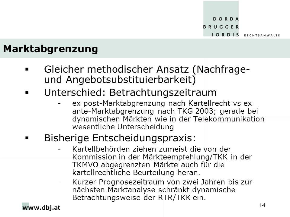 www.dbj.at 14 Marktabgrenzung Gleicher methodischer Ansatz (Nachfrage- und Angebotsubstituierbarkeit) Unterschied: Betrachtungszeitraum -ex post-Markt
