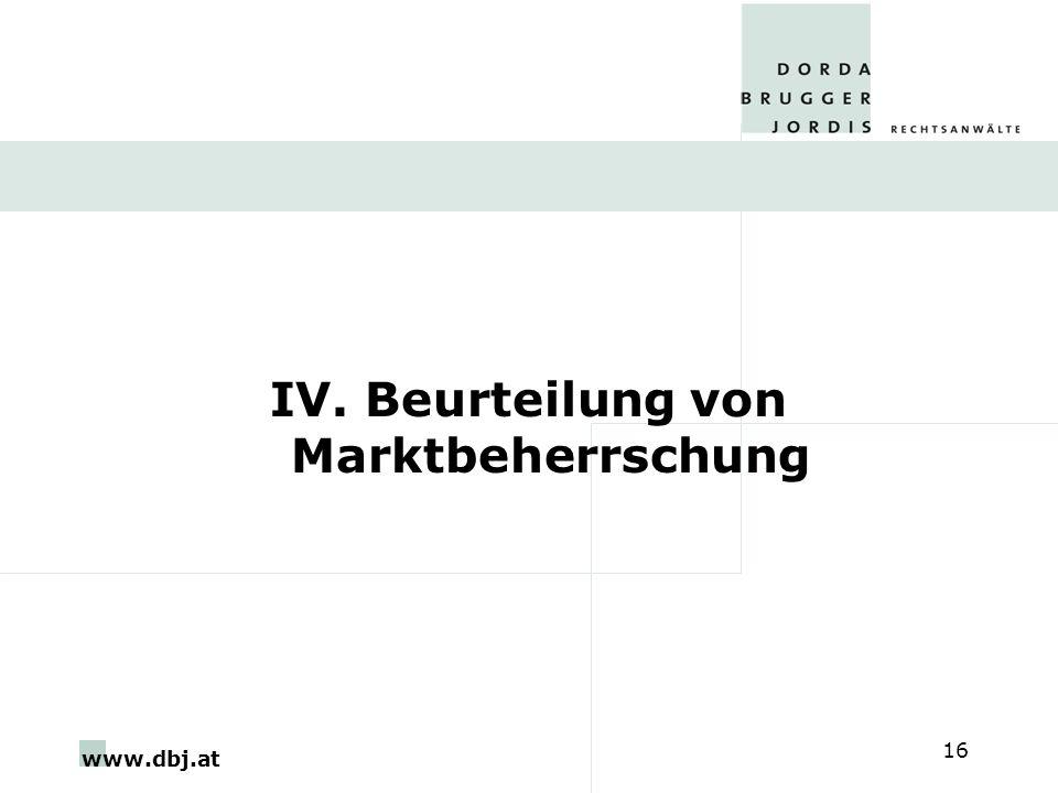 www.dbj.at 16 IV. Beurteilung von Marktbeherrschung