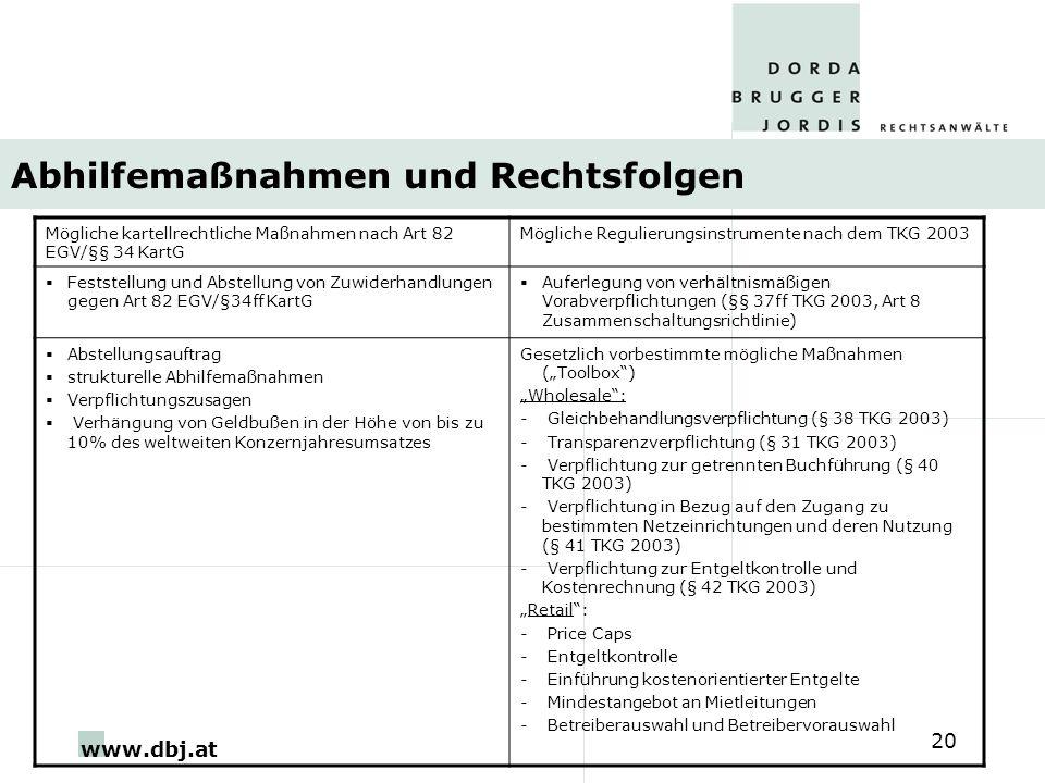 www.dbj.at 20 Abhilfemaßnahmen und Rechtsfolgen Mögliche kartellrechtliche Maßnahmen nach Art 82 EGV/§§ 34 KartG Mögliche Regulierungsinstrumente nach dem TKG 2003 Feststellung und Abstellung von Zuwiderhandlungen gegen Art 82 EGV/§34ff KartG Auferlegung von verhältnismäßigen Vorabverpflichtungen (§§ 37ff TKG 2003, Art 8 Zusammenschaltungsrichtlinie) Abstellungsauftrag strukturelle Abhilfemaßnahmen Verpflichtungszusagen Verhängung von Geldbußen in der Höhe von bis zu 10% des weltweiten Konzernjahresumsatzes Gesetzlich vorbestimmte mögliche Maßnahmen (Toolbox) Wholesale: - Gleichbehandlungsverpflichtung (§ 38 TKG 2003) - Transparenzverpflichtung (§ 31 TKG 2003) - Verpflichtung zur getrennten Buchführung (§ 40 TKG 2003) - Verpflichtung in Bezug auf den Zugang zu bestimmten Netzeinrichtungen und deren Nutzung (§ 41 TKG 2003) - Verpflichtung zur Entgeltkontrolle und Kostenrechnung (§ 42 TKG 2003) Retail: - Price Caps - Entgeltkontrolle - Einführung kostenorientierter Entgelte - Mindestangebot an Mietleitungen - Betreiberauswahl und Betreibervorauswahl