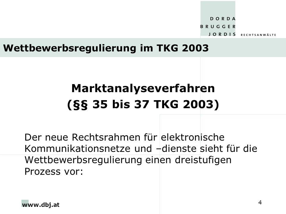 www.dbj.at 4 Wettbewerbsregulierung im TKG 2003 Marktanalyseverfahren (§§ 35 bis 37 TKG 2003) Der neue Rechtsrahmen für elektronische Kommunikationsnetze und –dienste sieht für die Wettbewerbsregulierung einen dreistufigen Prozess vor:
