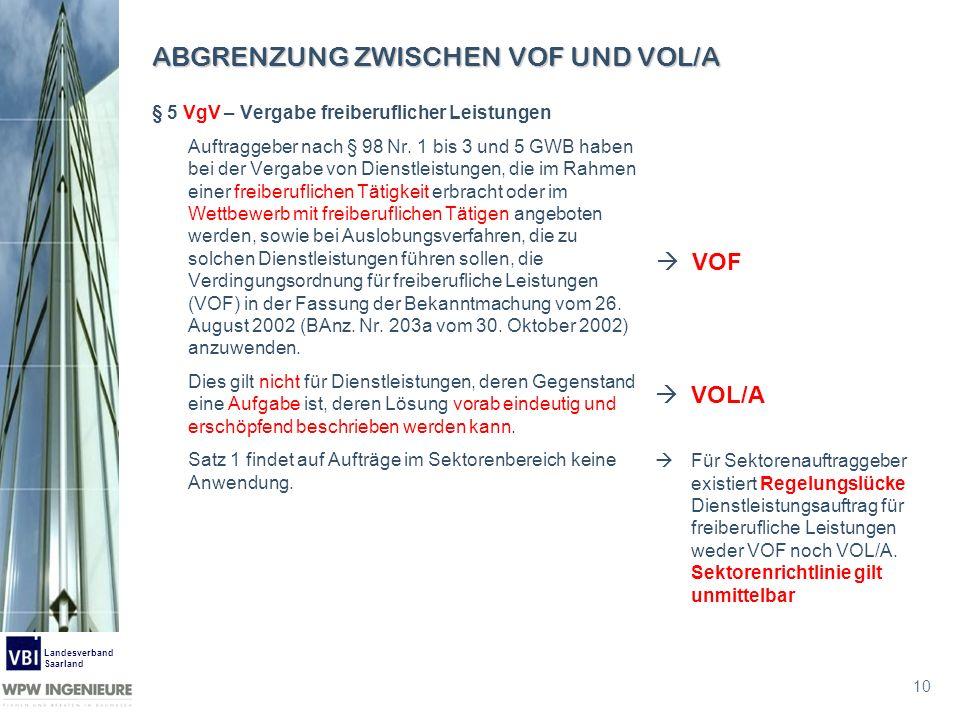 10 Landesverband Saarland ABGRENZUNG ZWISCHEN VOF UND VOL/A § 5 VgV – Vergabe freiberuflicher Leistungen Auftraggeber nach § 98 Nr. 1 bis 3 und 5 GWB