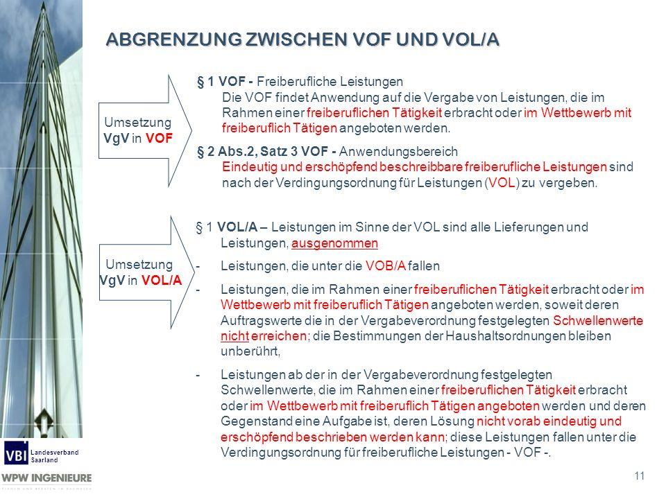 11 Landesverband Saarland ABGRENZUNG ZWISCHEN VOF UND VOL/A § 1 VOL/A – Leistungen im Sinne der VOL sind alle Lieferungen und Leistungen, ausgenommen