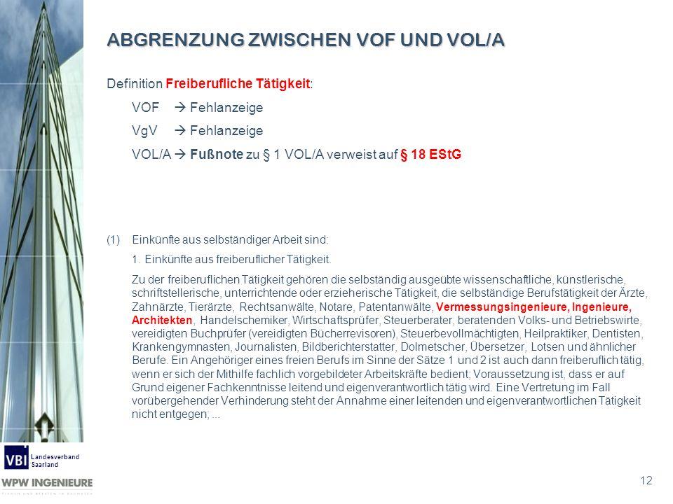 12 Landesverband Saarland ABGRENZUNG ZWISCHEN VOF UND VOL/A Definition Freiberufliche Tätigkeit: VOF Fehlanzeige VgV Fehlanzeige VOL/A Fußnote zu § 1