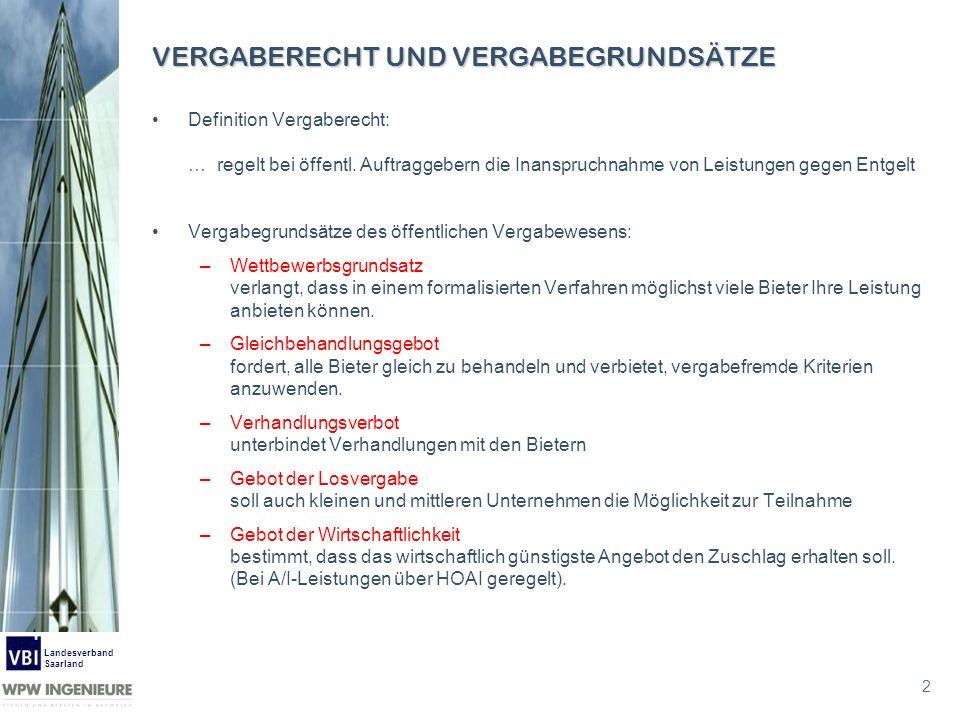 3 Landesverband Saarland VERGABERECHT WTO-Beschaffungsübereinkommen (GPA) Vergaberichtlinien der EU Lieferkoordinierungsrichtlinie (LKR) 93/36/EWG Baukoordinierungsrichtlinie (BKR) 93/37/EWG Dienstleistungskoordinierungsrichtlinie (DKR) 92/50/EWG Sektorenkoordinierungsrichtlinie (SKR) 93/38/EWG Rechtsmittelrichtlinie Sektorenrechtsmittelrichtlinie Deutsche Vergabevorschriften (Kaskadenlösung) Gesetz gegen Wettbewerbsbeschränkungen GWB, Teil 4 (1.1.1999) Verordnung über die Vergabebestimmungen für öffentliche Aufträge Vergabeverordnung – VgV, gültige Fassung v.