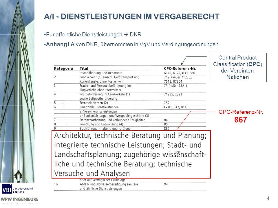 4 Landesverband Saarland A/I - DIENSTLEISTUNGEN IM VERGABERECHT Für öffentliche Dienstleistungen DKR Anhang I A von DKR, übernommen in VgV und Verding