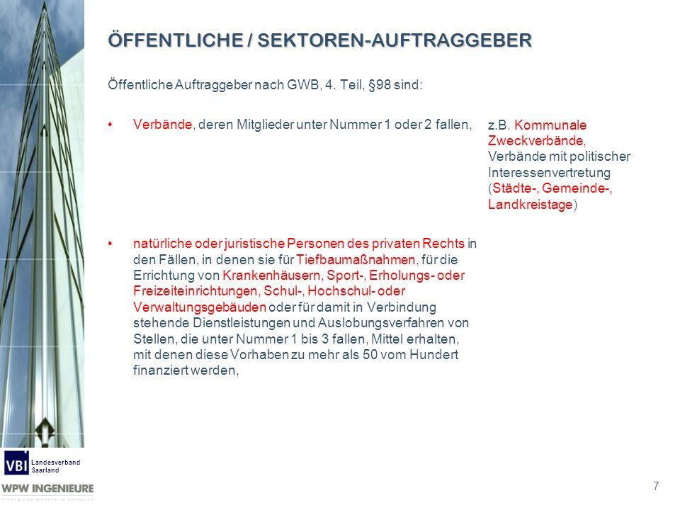 7 Landesverband Saarland ÖFFENTLICHE / SEKTOREN-AUFTRAGGEBER Öffentliche Auftraggeber nach GWB, 4. Teil, §98 sind: Verbände, deren Mitglieder unter Nu
