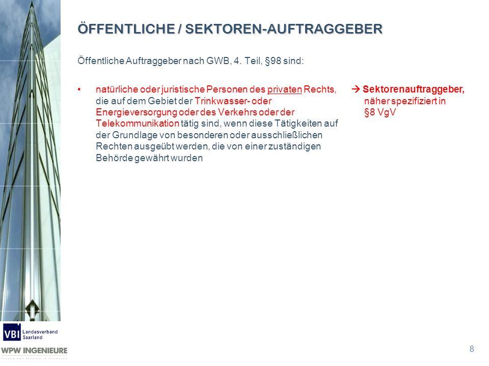 8 Landesverband Saarland ÖFFENTLICHE / SEKTOREN-AUFTRAGGEBER Öffentliche Auftraggeber nach GWB, 4. Teil, §98 sind: natürliche oder juristische Persone