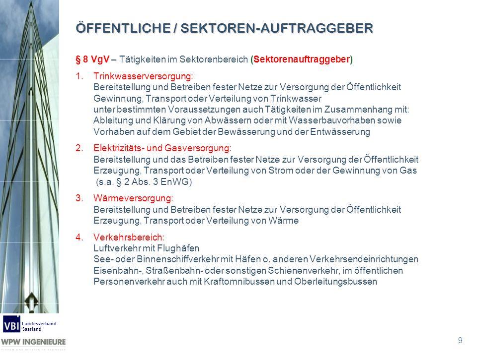9 Landesverband Saarland ÖFFENTLICHE / SEKTOREN-AUFTRAGGEBER § 8 VgV – Tätigkeiten im Sektorenbereich (Sektorenauftraggeber) 1.Trinkwasserversorgung: