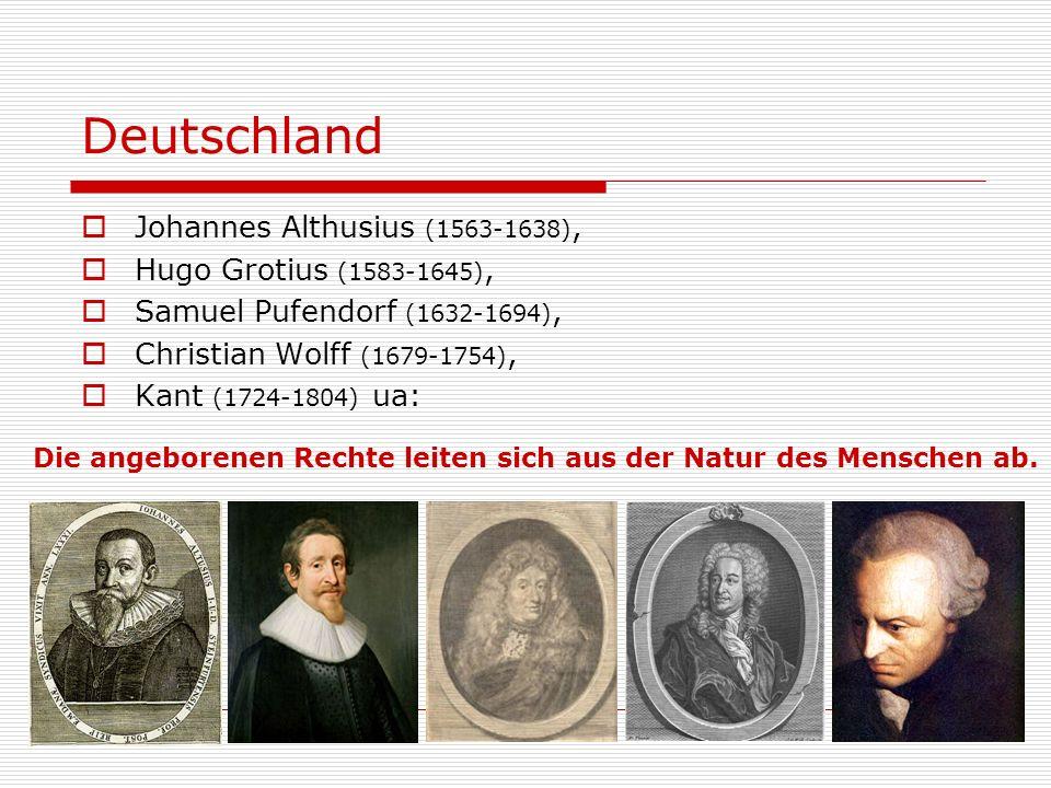 HLG Ethik III/1www.kha.at20 Deutschland Johannes Althusius (1563-1638), Hugo Grotius (1583-1645), Samuel Pufendorf (1632-1694), Christian Wolff (1679-