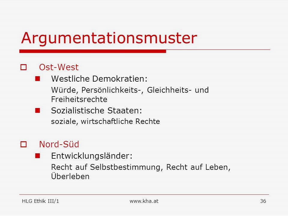 HLG Ethik III/1www.kha.at36 Argumentationsmuster Ost-West Westliche Demokratien: Würde, Persönlichkeits-, Gleichheits- und Freiheitsrechte Sozialistis