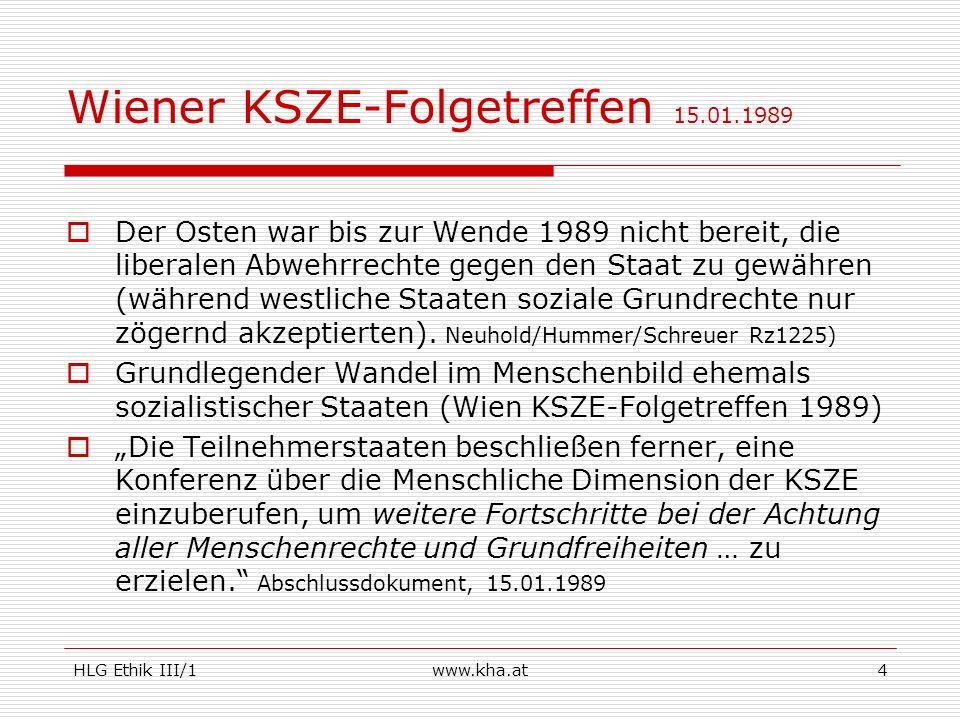 HLG Ethik III/1www.kha.at4 Wiener KSZE-Folgetreffen 15.01.1989 Der Osten war bis zur Wende 1989 nicht bereit, die liberalen Abwehrrechte gegen den Sta