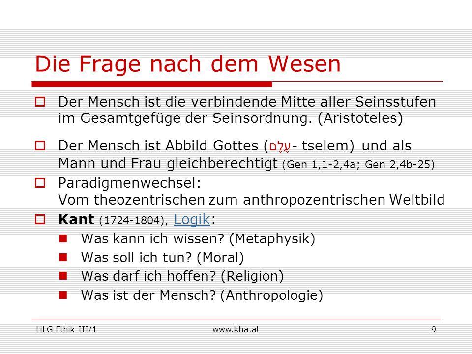 HLG Ethik III/1www.kha.at10 Antike versus Aufklärung.
