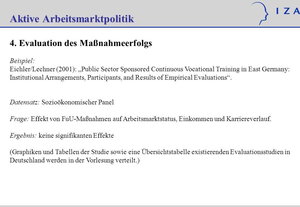 Aktive Arbeitsmarktpolitik 4. Evaluation des Maßnahmeerfolgs Beispiel: Eichler/Lechner (2001): Public Sector Sponsored Continuous Vocational Training
