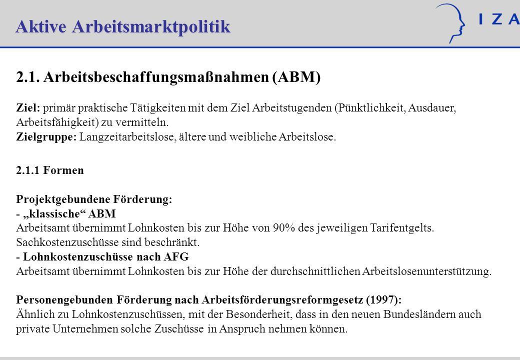 Aktive Arbeitsmarktpolitik 2.1. Arbeitsbeschaffungsmaßnahmen (ABM) Ziel: primär praktische Tätigkeiten mit dem Ziel Arbeitstugenden (Pünktlichkeit, Au