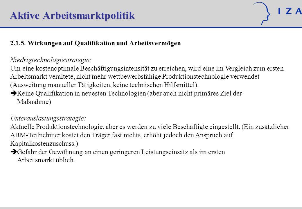Aktive Arbeitsmarktpolitik 2.1.5. Wirkungen auf Qualifikation und Arbeitsvermögen Niedrigtechnologiestrategie: Um eine kostenoptimale Beschäftigungsin