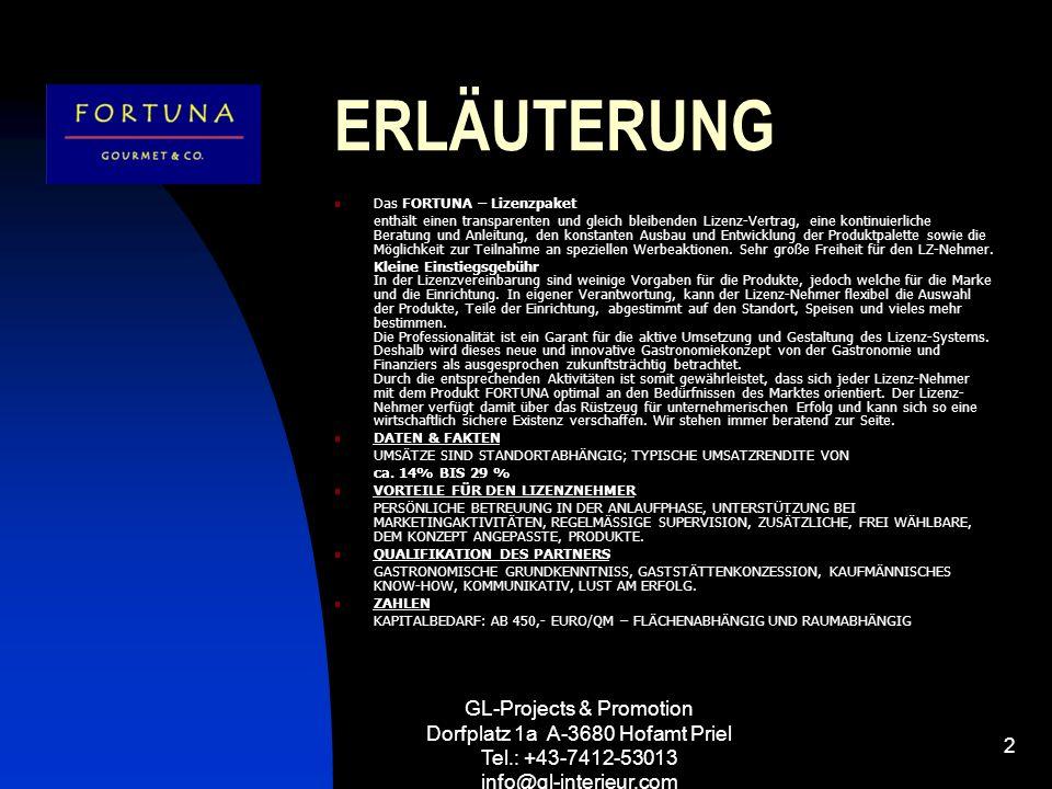 GL-Projects & Promotion Dorfplatz 1a A-3680 Hofamt Priel Tel.: +43-7412-53013 info@gl-interieur.com 2 ERLÄUTERUNG Das FORTUNA – Lizenzpaket enthält ei