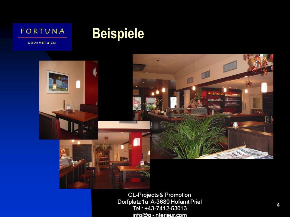 GL-Projects & Promotion Dorfplatz 1a A-3680 Hofamt Priel Tel.: +43-7412-53013 info@gl-interieur.com 5 Betriebstypen 3 LIZENZKONZEPTE – 3 LICENCECONZEPTS - 3 CONCETTO DI LICENZE Wir möchten Ihnen ein Gastro-Konzept für Ihren Standort anbieten.