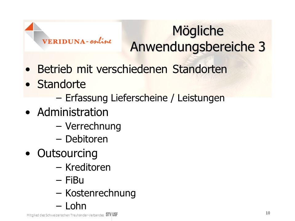 Mitglied des Schweizerischen Treuhänder-Verbandes 10 Mögliche Anwendungsbereiche 3 Betrieb mit verschiedenen Standorten Standorte –Erfassung Lieferscheine / Leistungen Administration –Verrechnung –Debitoren Outsourcing –Kreditoren –FiBu –Kostenrechnung –Lohn