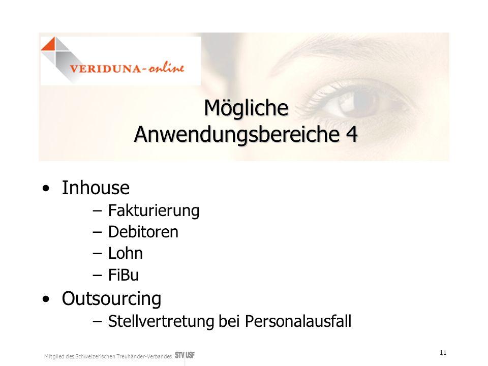 Mitglied des Schweizerischen Treuhänder-Verbandes 11 Mögliche Anwendungsbereiche 4 Inhouse –Fakturierung –Debitoren –Lohn –FiBu Outsourcing –Stellvertretung bei Personalausfall