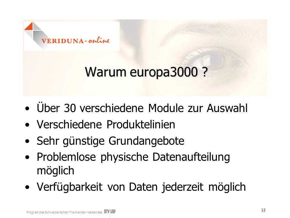 Mitglied des Schweizerischen Treuhänder-Verbandes 12 Warum europa3000 ? Über 30 verschiedene Module zur Auswahl Verschiedene Produktelinien Sehr günst