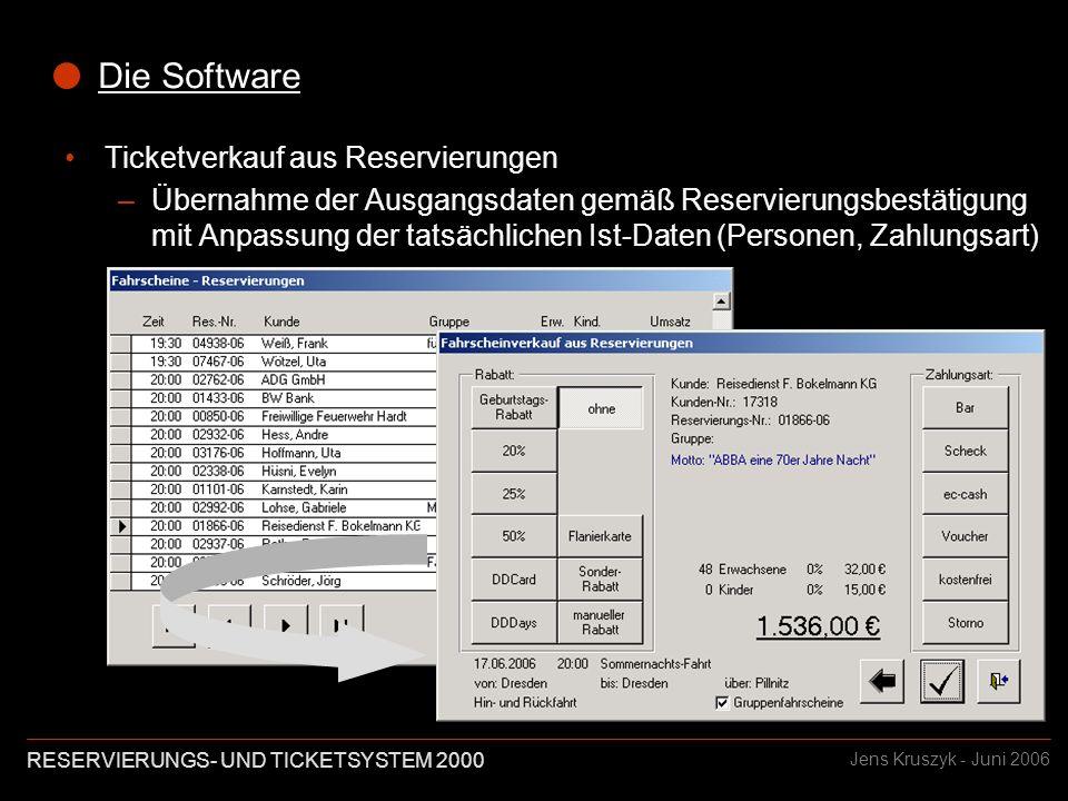 RESERVIERUNGS- UND TICKETSYSTEM 2000 Jens Kruszyk - Juni 2006 Die Software Ticketverkauf aus Reservierungen –Übernahme der Ausgangsdaten gemäß Reservierungsbestätigung mit Anpassung der tatsächlichen Ist-Daten (Personen, Zahlungsart)