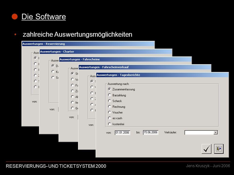 RESERVIERUNGS- UND TICKETSYSTEM 2000 Jens Kruszyk - Juni 2006 Die Software zahlreiche Auswertungsmöglichkeiten